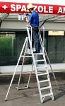 Profesionalna A lestev z delavno ploščadjo in stranskima oporama 6085