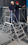 Aluminum two-sided stairs with platform 7280