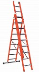 Extendable three-part A ladder V047 with base