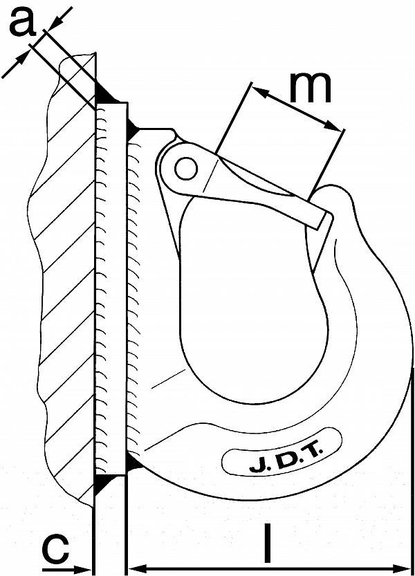Hook AHK, weld-on type